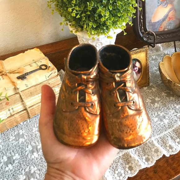 vintage copper dipped baby shoes